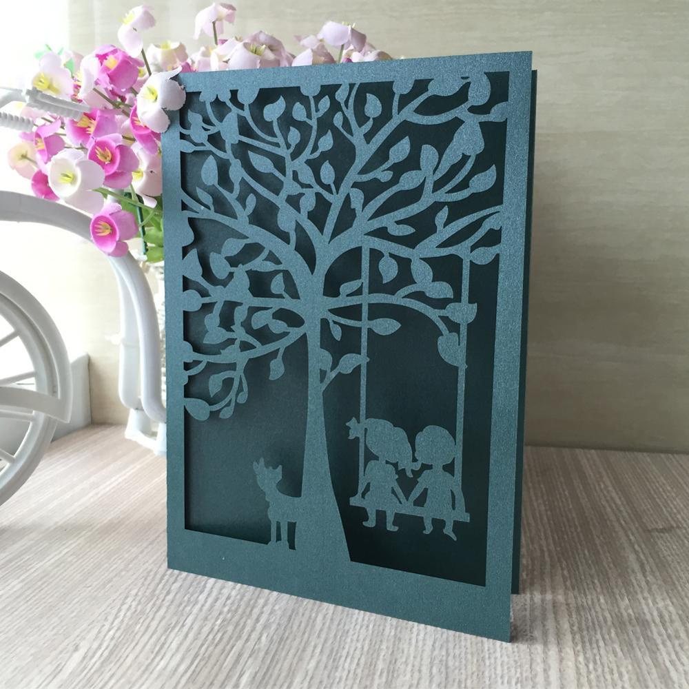 Lote de 50 Uds de tarjetas de invitación de boda con corte láser hueco para amantes del árbol, recuerdo de San Valentín, decoración de bodas, suministros para fiestas