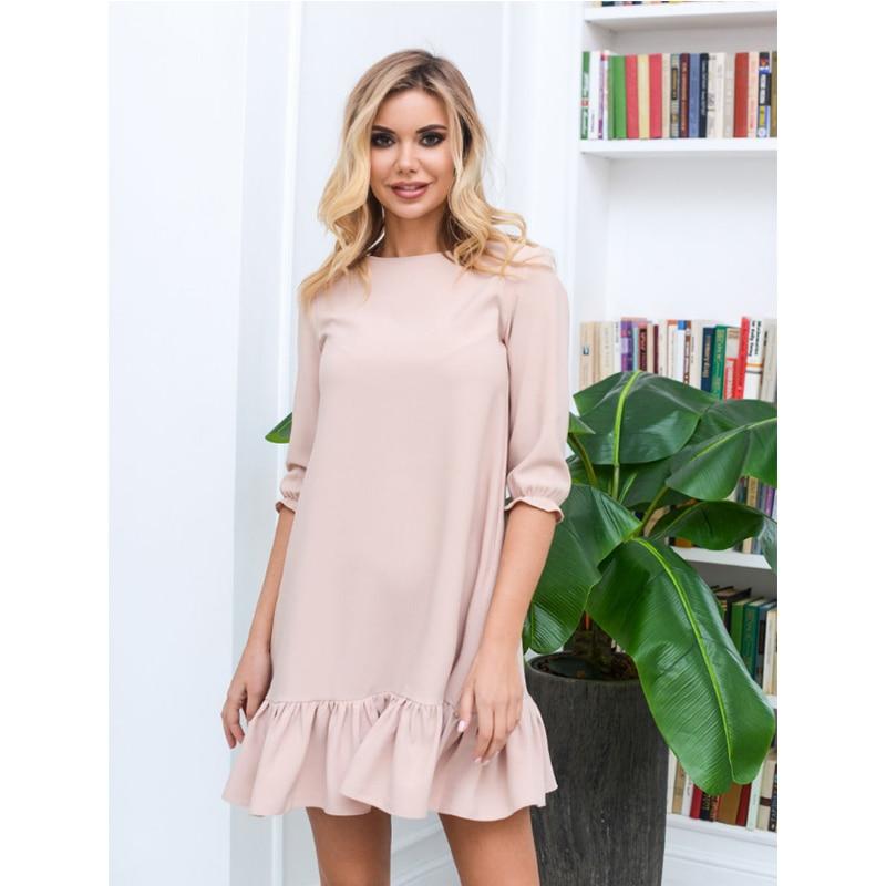 Sweet Ruffles Casual Party Dress Ladies Seven Sleeve o Neck Elegant Office Dress Autumn Fashion Female Loose Mini Dress 2019