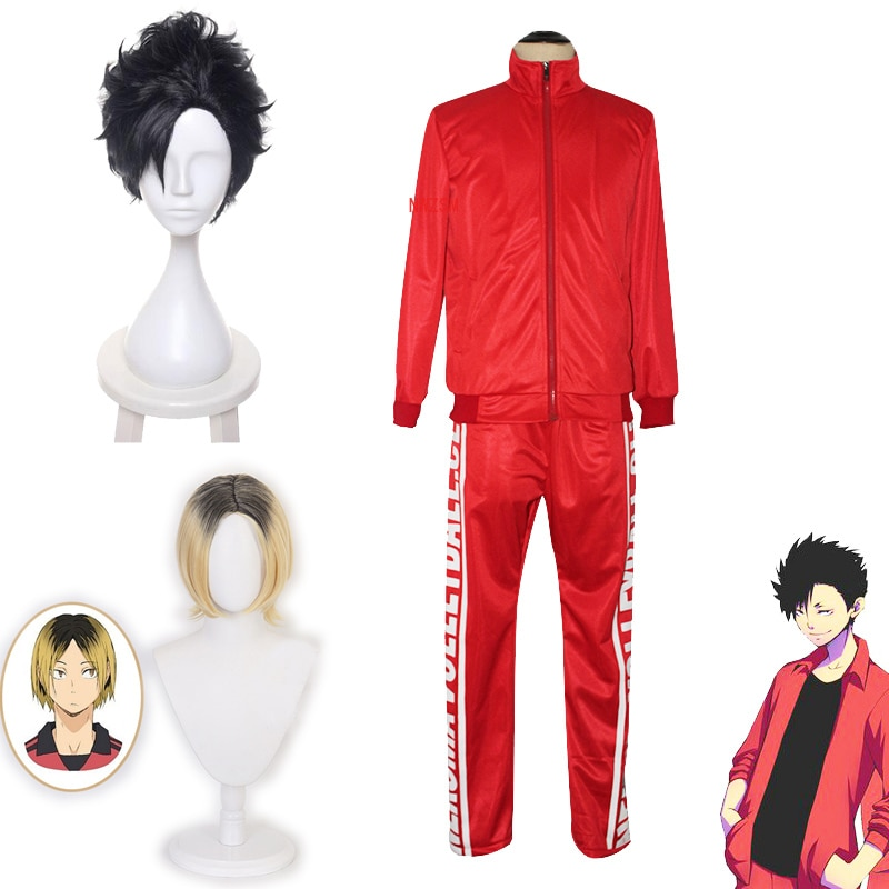 Haikyuu Kozume Kenma, disfraz de Cosplay Kuroo Tetsurou, peluca de Cosplay Nekoma, traje de equipo de voleibol para primavera y otoño