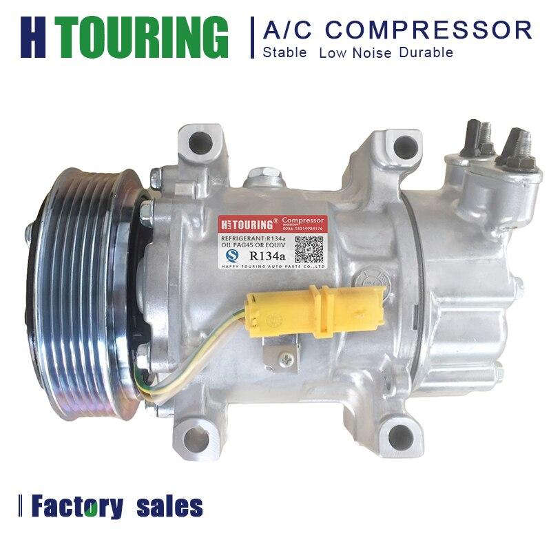 Sanden sd6v12 compressor AC Para PEUGEOT 206 307 9655191580 PARCEIRO 9655191680 9684480480 6453JL 6453JP 6453KS 6453LF 6453LH