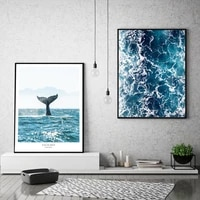 nordic blue photography posters sea wave canvas painting whale tail wall art print modern pictures for living room bedroom decor