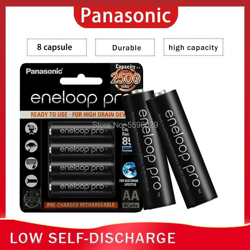 Pilas recargables precargadas de Panasonic Eneloop, 8 Uds. AA 2500mAh 1,2 V NI-MH, cámara Original