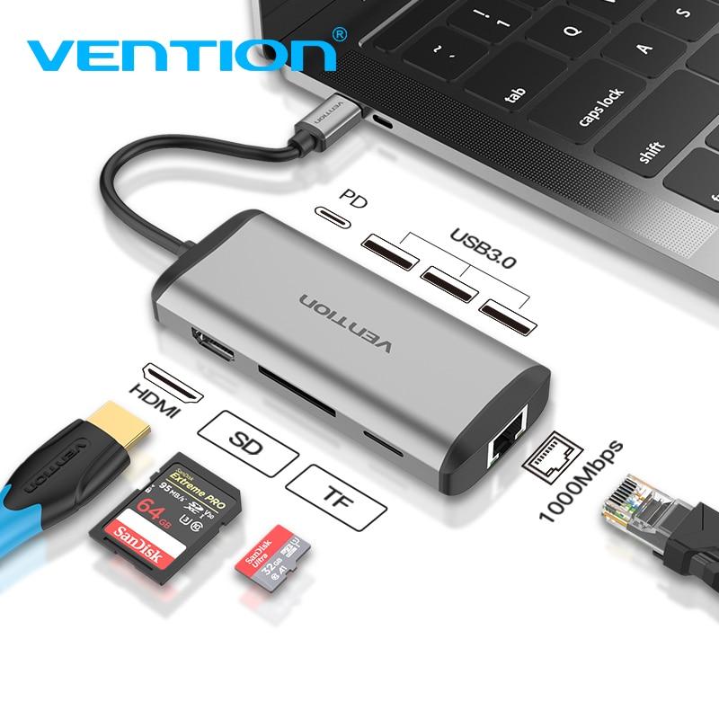 Vention Usb Hub USB نوع C إلى HDMI USB 3.0 HUB الصاعقة 3 محول ل ماك بوك سامسونج S9 هواوي زميله 20 P20 برو USB-C محور جديد