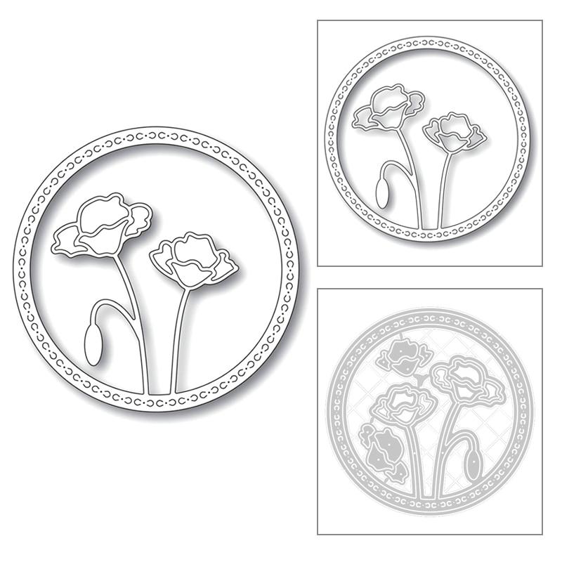 2020 nuevo marco redondo ramas hoja de flor en relieve Fondo Metal corte troqueles para Scrapbooking tarjeta de felicitación sin sello