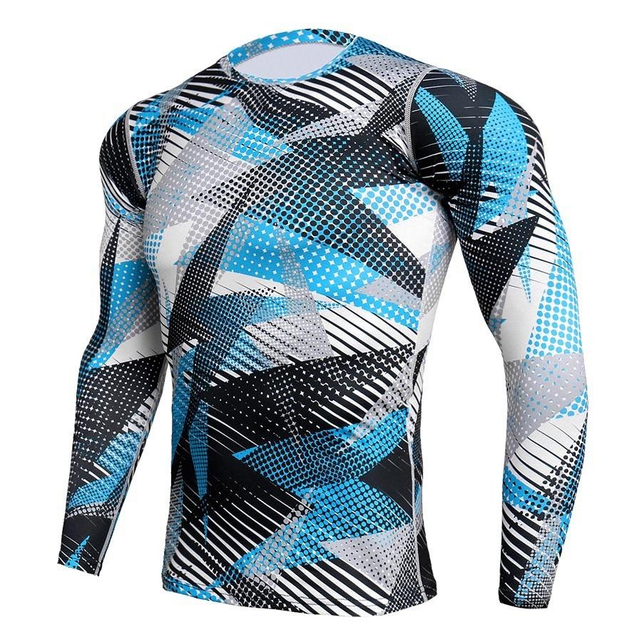 Мужская велосипедная одежда. Эластичные быстросохнущие одежда облегающие. Камуфляжная одежда для фитнеса. Спортивная одежда для бега с дли...