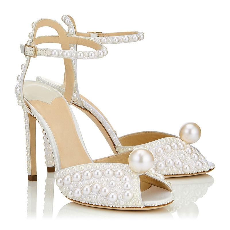High Heels Sandals Women Peep Toe Party Crystal Thin Heels Sandalias Mujer Pearl Genuine Leather Sandali Eleganti Women's Pumps