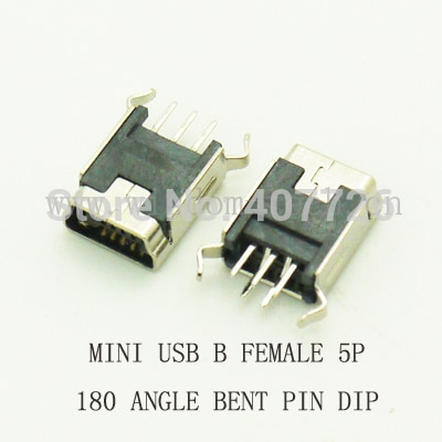 Бесплатная доставка, разъем Mini USB 1000 2,0 шт./лот, тип B, 5-контактный, 180 градусов, изогнутые ножки DIP