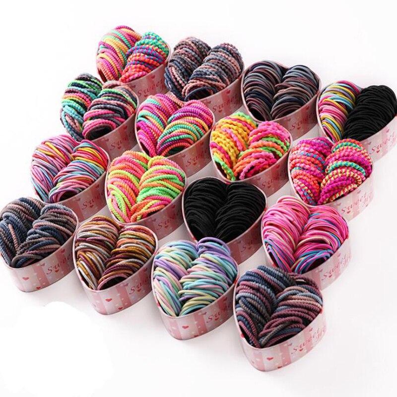 50 unids/caja Color mixto cinta para el cabello para niñas coloridas Scrunchies titular de cola de caballo diademas para el cabello accesorios regalo en caja
