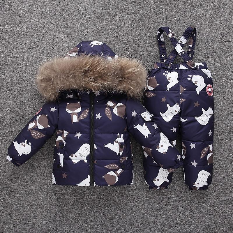 Children Down Coat Set Hooded Fur Collar Winter Kids Jacket Warm Girl Boy Snowsuit Outfits Kid Cartoon 2-5Y Toddler Outerwear enlarge