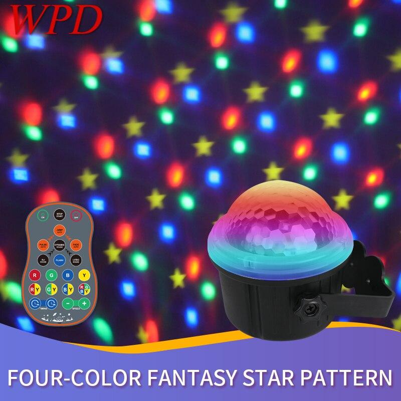 Лазерная лампа WPD с цветными звездами, светодиодный фонарик с голосовым управлением, сценическая лампа с дистанционным управлением для KTV Bar