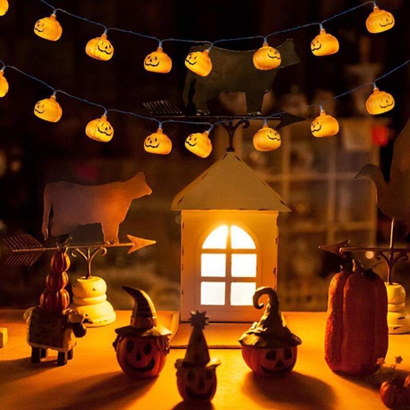 Guirnalda de luces LED con forma de calabaza para Halloween, guirnalda de...