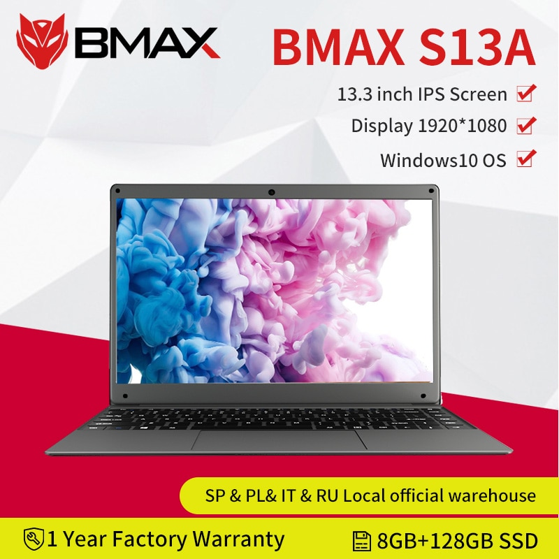 BMAX S13A 13.3 inch Intel N3350 Laptop window10 Notebook 8GB LPDDR4 128GB SSD 1920*1080 IPS Intel La