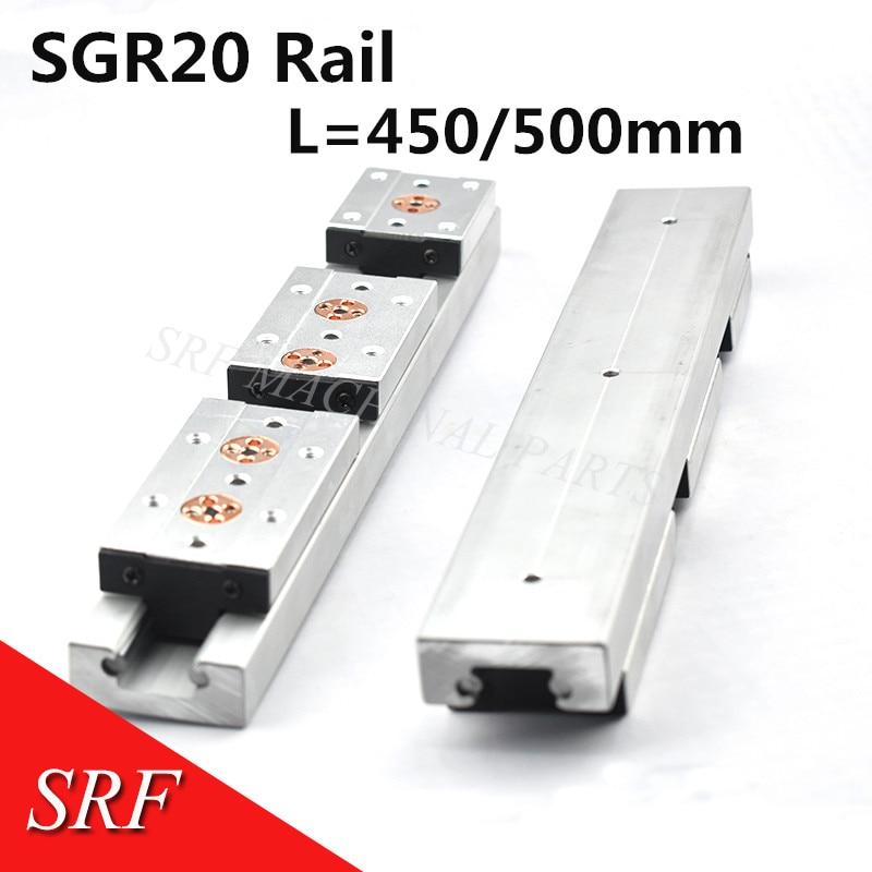 مزدوج محور الأسطوانة الخطي دليل SGR20 L = 450/500 مللي متر خطي الحركة السكك الحديدية الشريحة