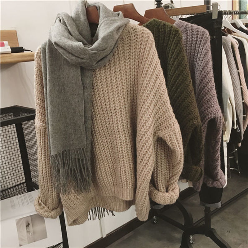 women pullover loose embroidery knitted solid color long sleeve jumper streetwear sweaters tops pullovers female clothes autumn Vintage Autumn Winter Knitted Sweaters For Women Pullover Femme Oversize Loose Long Sleeve Solid Color Long Warm Sweater Jumper