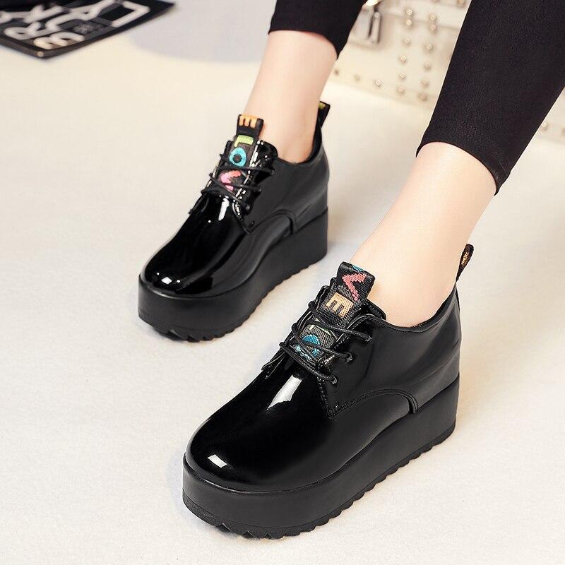 Zapatillas de deporte para mujer, zapatos planos de plataforma, zapatos informales de charol con cordones, mocasines, zapatos de mujer aumentados, zapatos Oxford sólidos