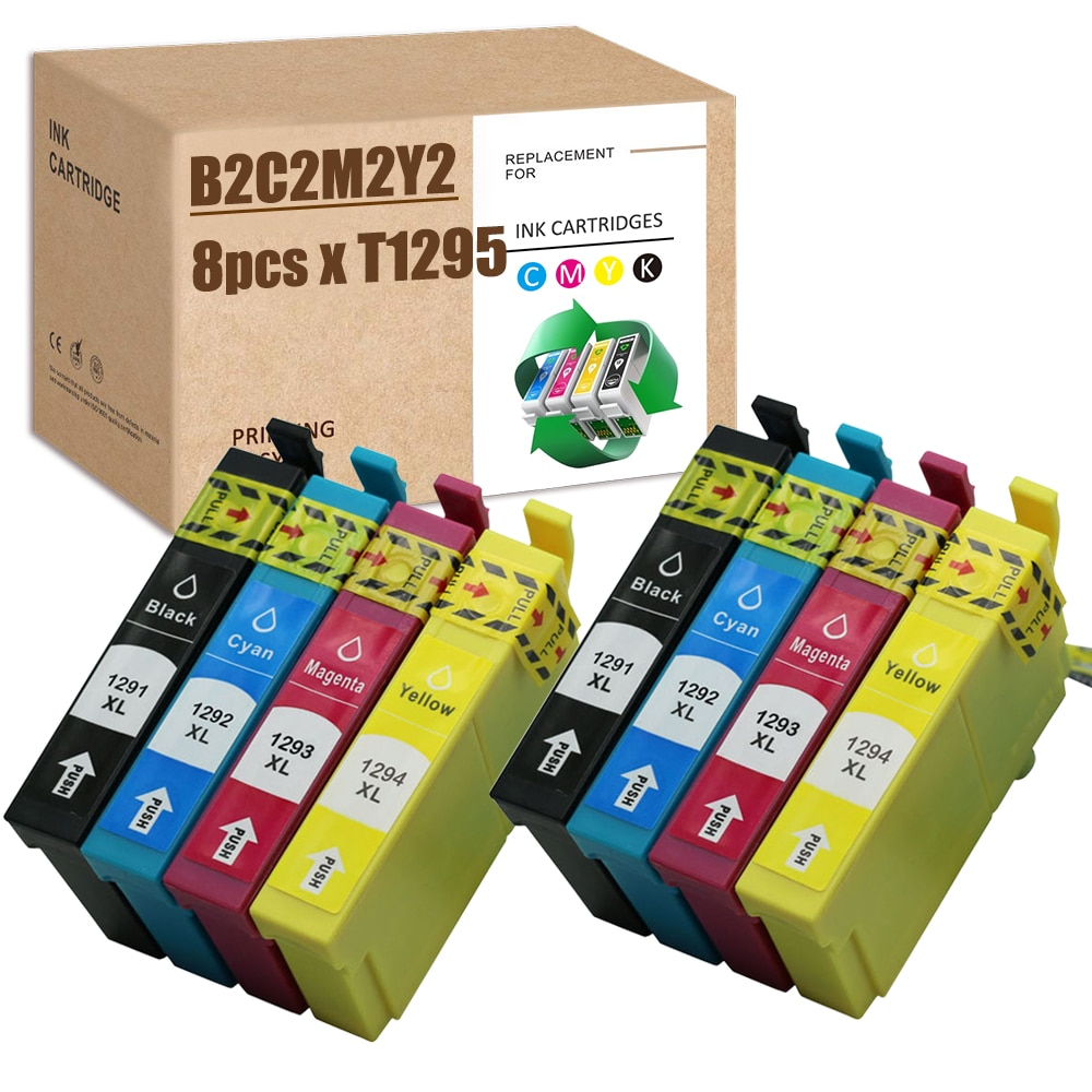 SZ T1295 Compatible for Epson T1291 T1292 T1293 T1294 Ink Cartridge for SX235 SX420W SX425W SX435W SX525WD SX535WD WF-7515 B42WD