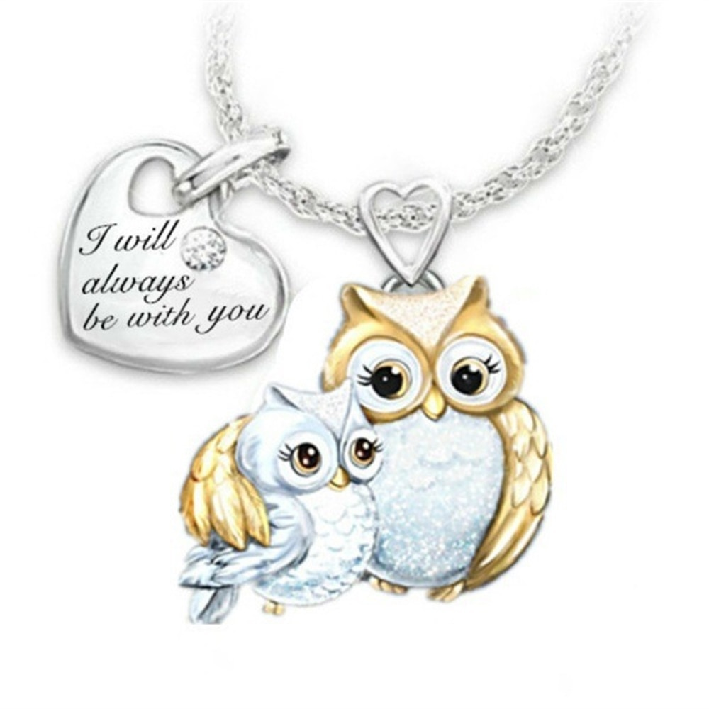 I Will Always Be with You Necklace for Women Family Owl Pendant Necklace Mother and Kids Accessory S