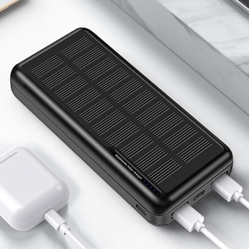 30000mAh Solar Power Bank for Smart Mobile Phone USB Solar Charger Portable External Battery Pack