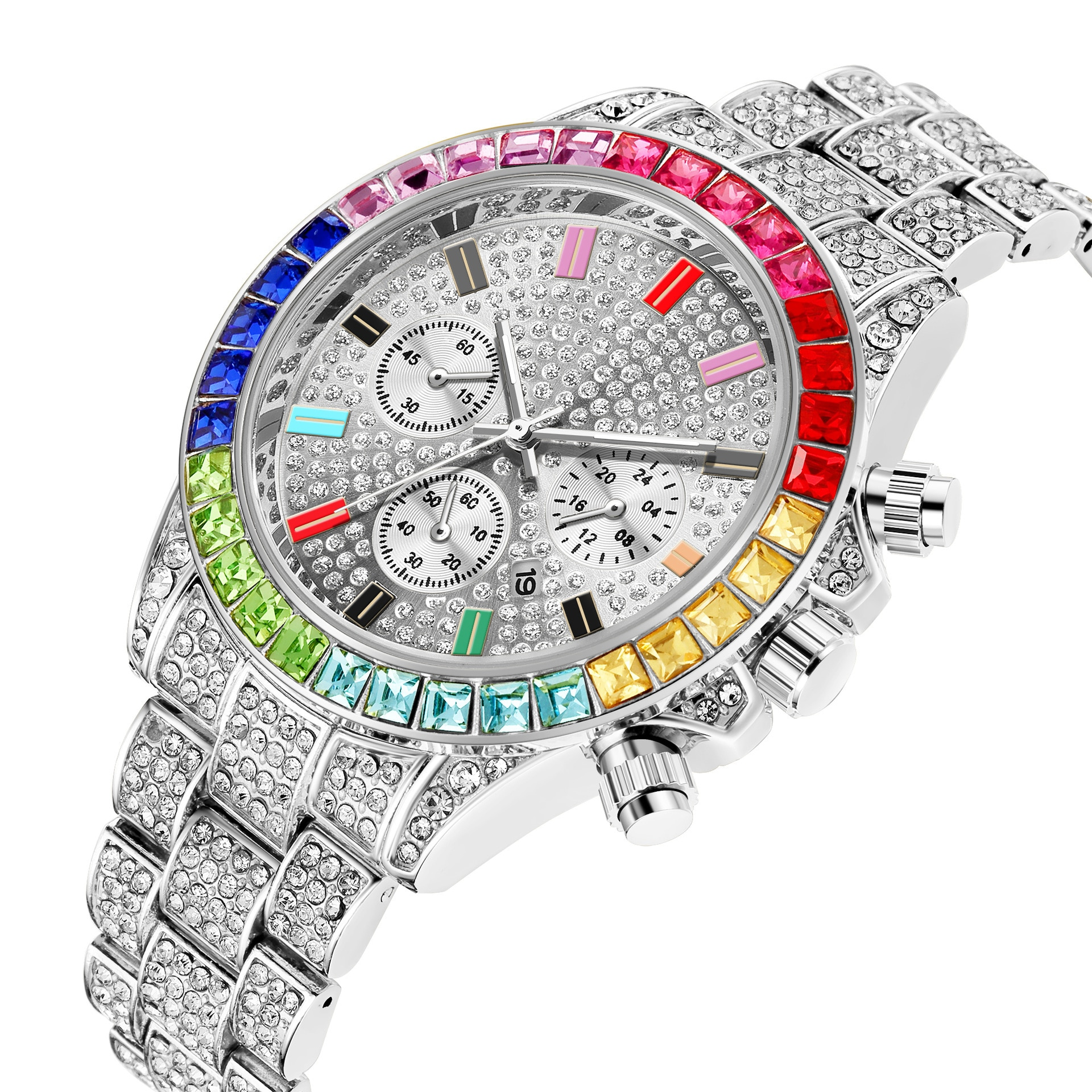 Colorful Diamond Watch Top Brand for Men Luxury Iced Out Gold Watch Hip Hop Quartz Wristwatch Relogio Masculino Mens Watch Reloj watch for women top brand luxury iced out watch diamond watch for men iced out cuban link chain necklace wristwatch man hiphop