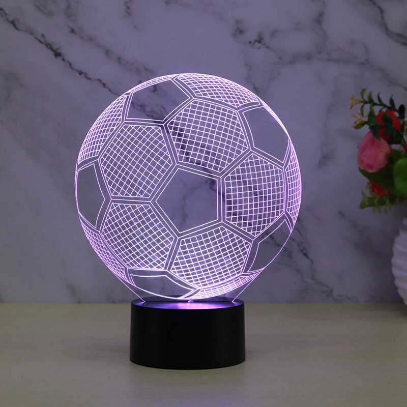 Football Illusion 3D Lamp Night Light For Boy Table Desk Lamp 7 Color Change Decorative Lamp Perfect 3D Decorative Ball Lamp