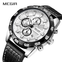 New MEGIR Fashion Big Dial Chronograph Men Sport Clock Top Brand Luxury Analog Quartz Date Wristwatches Relogio Masculino 2020