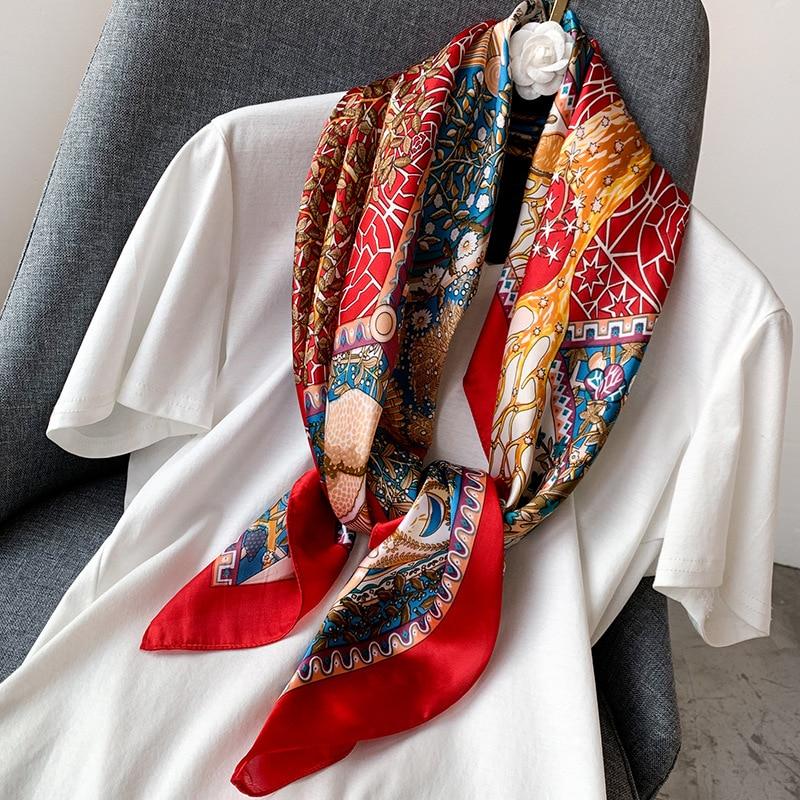 2020 Designer Brand NEW Spring Women Silk Square Scarf Fashion Printed Scarves Lady Shawls Femme Hijab 90*90cm