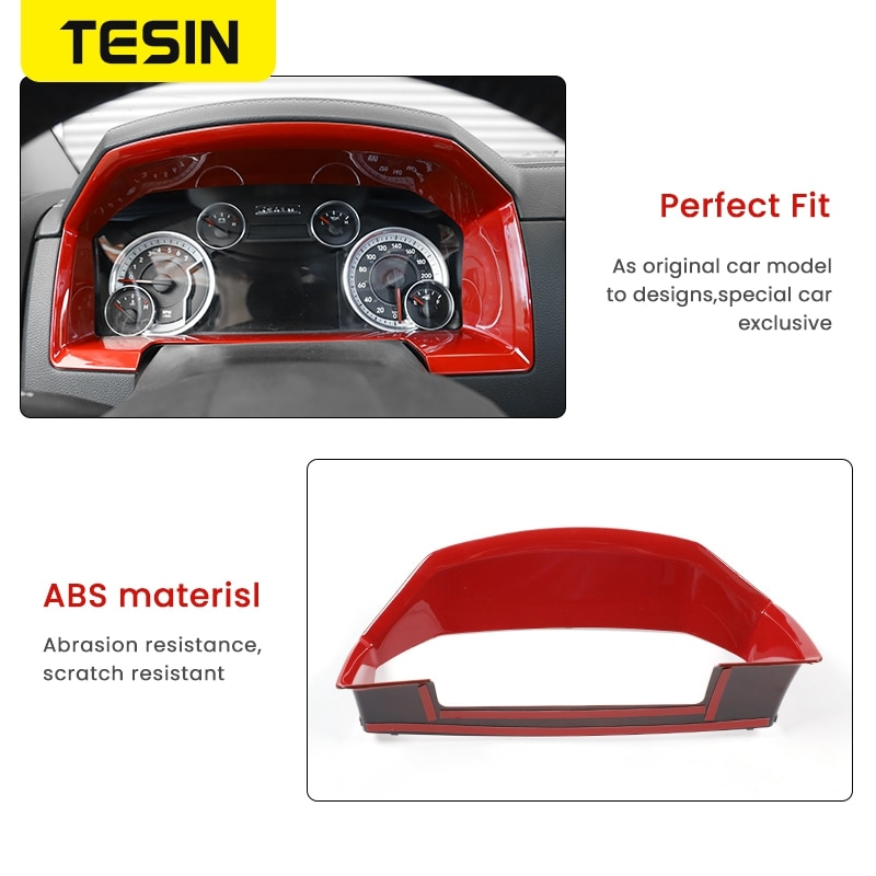 TESIN Car Interior Instrument Panel Dashboard Decor Cover Ring Trim Sticker Accessories For Dodge Ram 1500 2010-2017 Car Styling enlarge