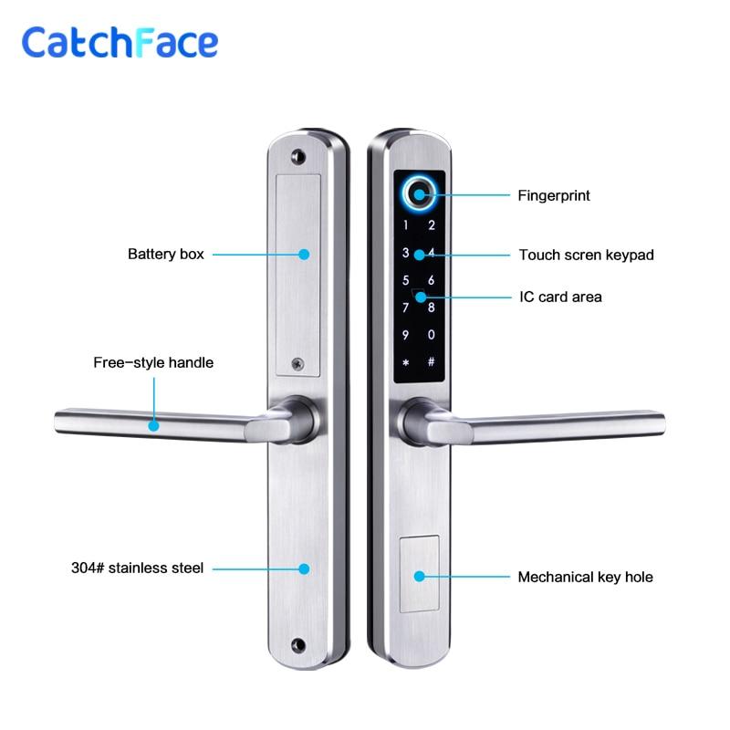 Waterproof Outdoor Gate Lock  Fingerprint Lock APP RFID Code Keyless Smart Lock Electronic Door Lock for Aluminum Door/Iron Gate