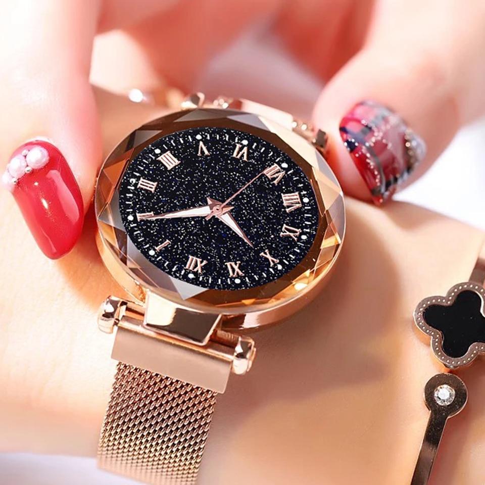 2019 Hot Sale Starry Sky Watch Women's Luxury Magnetic Magnet Buckle Quartz Wristwatch Geometric Sur