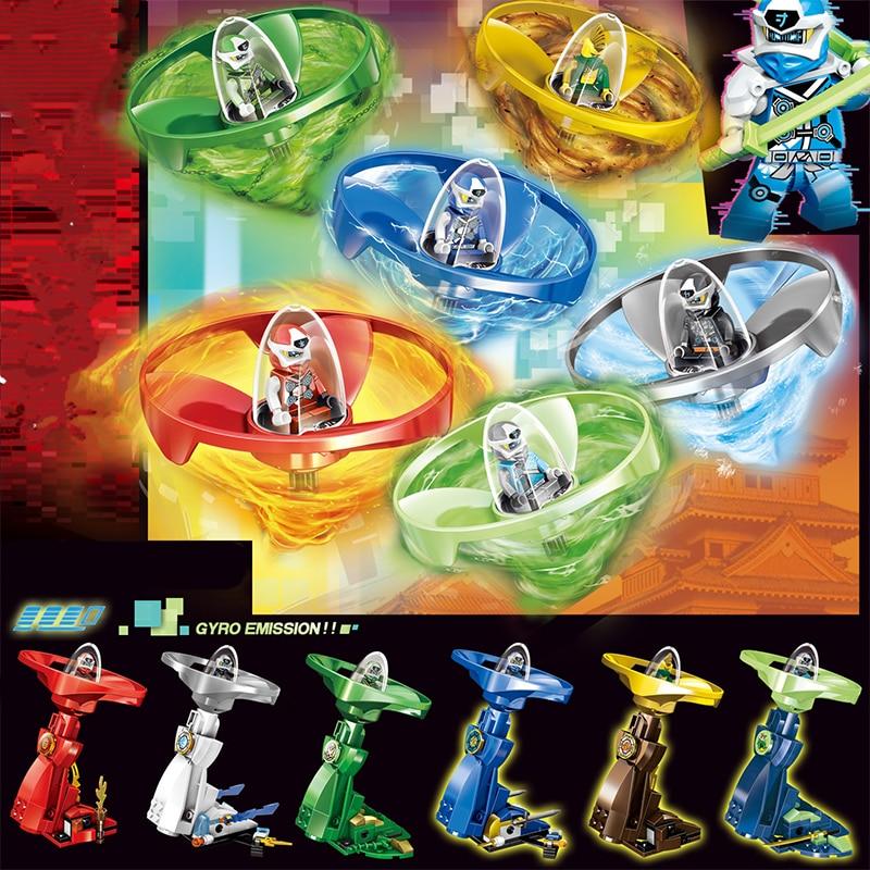 Ninjatoes kai jay zane mini figuras ninja girando topo spinners ação modelo rotação tijolos bloco de construção brinquedos para crianças presente