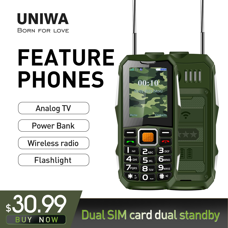 UNIWA ATV02 Feature Phone 3.5 Earphone Jack Mp3 Music Player   Push-Button Loud Cellphone with Flash