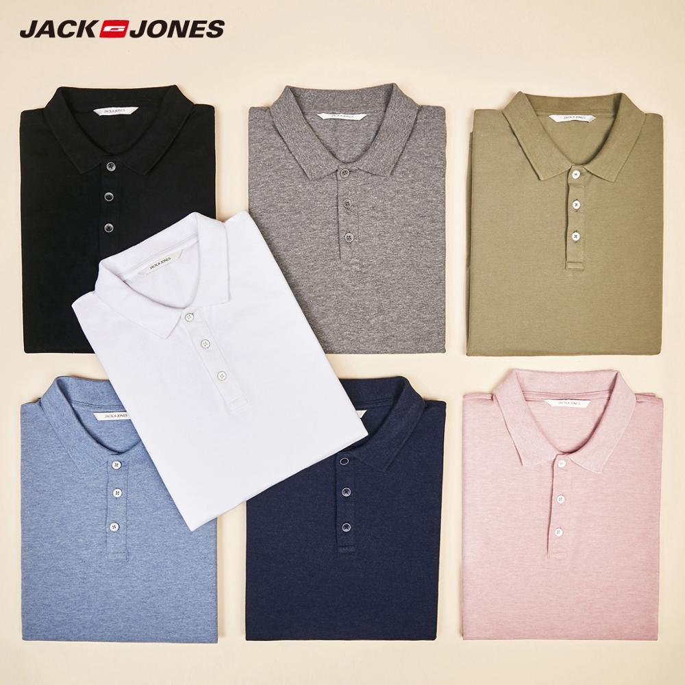 Мужская однотонная хлопковая рубашка-поло с отложным воротником Jack Jones, 220206532