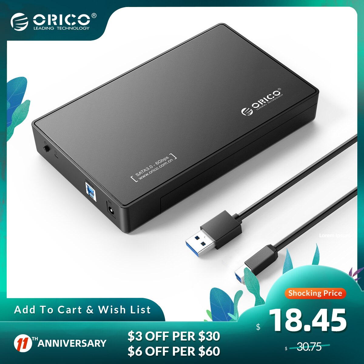 ORICO 3588US3 HDD Enclosure 3.5 inch SATA External Hard Drive Enclosure USB 3.0 HDD Case Tool Free  for 3.5