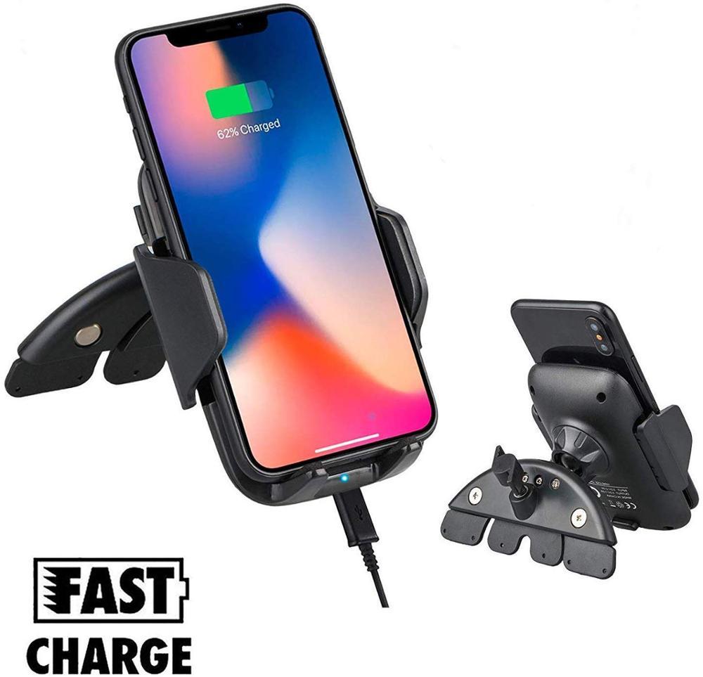 Soporte para coche de 10W de imilef, cargador inalámbrico Qi para Iphone X 8 Plus, soporte de ranura de CD para carga rápida para Samsung