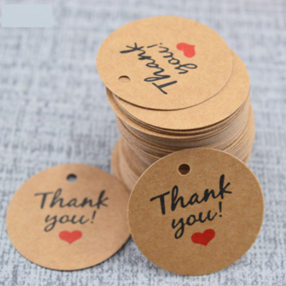 100 unids/lote de tarjetas de agradecimiento de papel 3,5 CM etiquetas redondas de los deseos regalo de los días de la madre artesanías decoración de la boda DIY fiesta supi