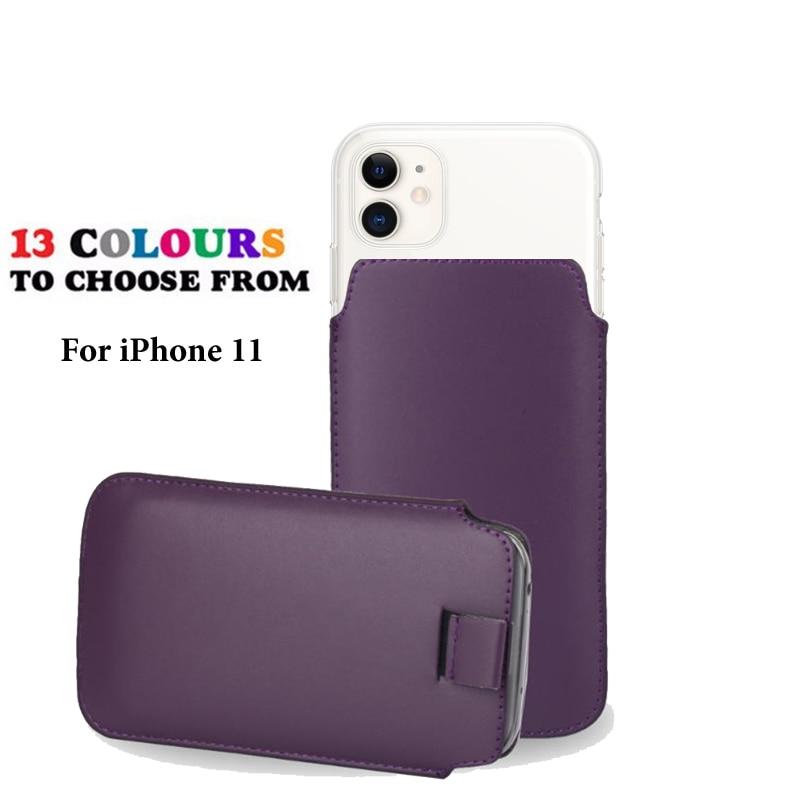 Funda de cuero Coque para Apple iPhone 11 bolsillo cuerda Holster Pull Tab bolsa funda teléfono bolsa