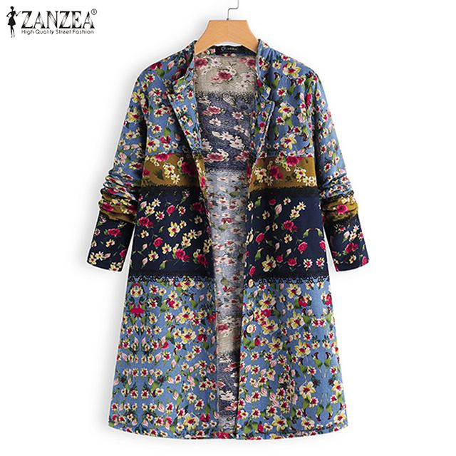 Prendas de vestir informales para mujer ZANZEA otoño Floral impreso algodón largo cárdigan Vintage manga larga suelta blusa para mujer