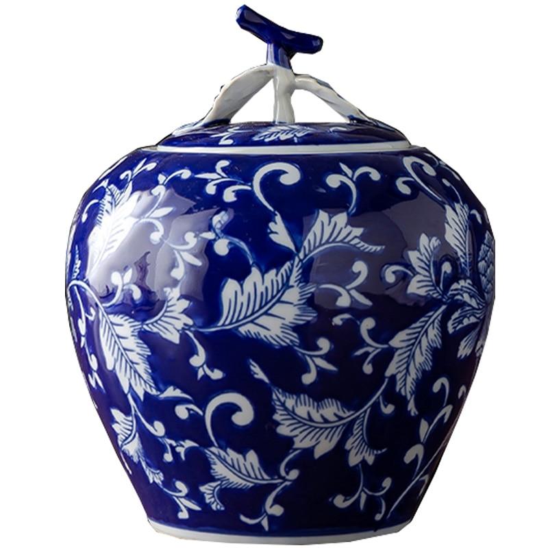 Azul e Branco Vaso de Porcelana Decoração para Casa Frasco de Armazenamento Frasco de Armazenamento com Tampa Decoração do Desktop Multifuncional Artesanato Cerâmica Tampa com