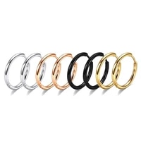 1pair stainless steel smooth hoop earrings for women round earring black gold silver color 6mm8mm10mm12mm