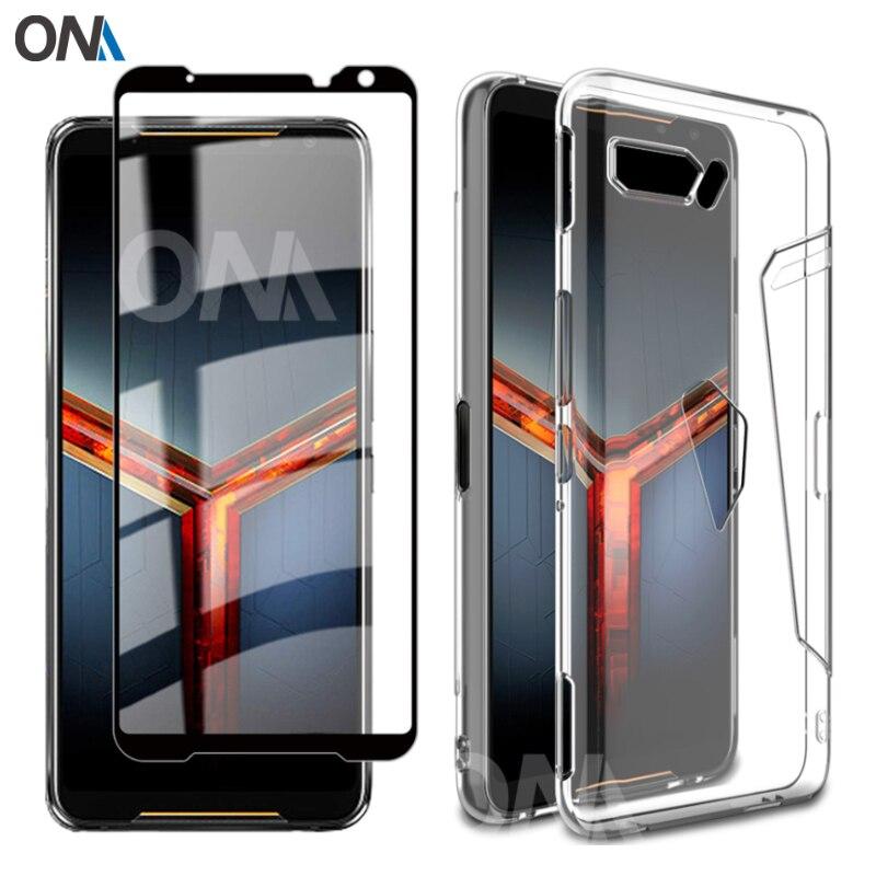 2-em-Vidro 1 + Completa Caso Capa para o Asus ROG 3 II ZS660KL Telefone Tampa Da Caixa Do Silicone para Asus ROG 2 3 Telefone Protetor de Tela