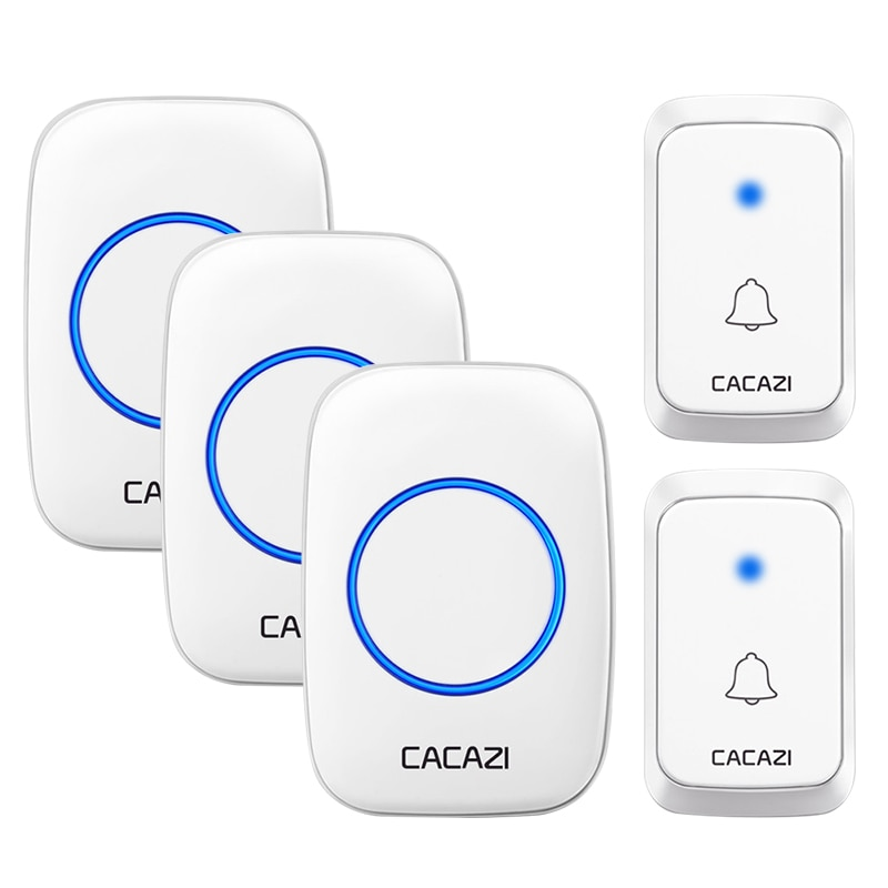 CACAZI Wireless Doorbell DC battery-operated 1 2 Button 1 2 3 Receiver 300M Remote Smart Waterproof