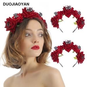 DUOJIAOYAN Festival scary skull hairband Artificial rose headpiece flower hair hoop Halloween party Headband for women lady