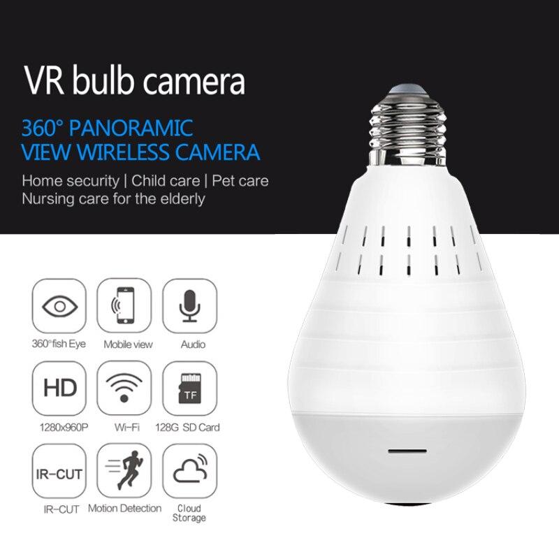 Bombilla inteligente Wifi para cámara panorámica, lámpara De seguridad inalámbrica, cámara Ip,...