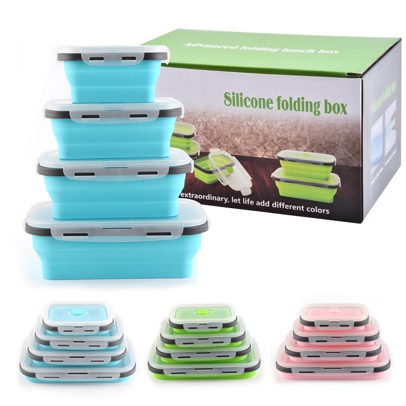 صندوق غداء سيليكون ، قابل للطي ، آمن في الميكروويف ، مانع للتسرب ، حاوية طعام ، 4 قطعة لكل مجموعة