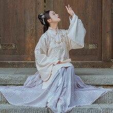 Chinois traditionnel femmes Hanfu Tang dynastie Costume Robe de broderie florale danse folklorique Performance tenue longue Robe manteau Costume