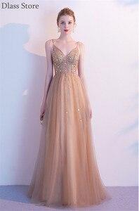 Gold Prom Dress Tulle 2021 Simple Illusion Spaghetti Strap Crystal V-neck A-line Floor Length Evening Dress коктейльные платья