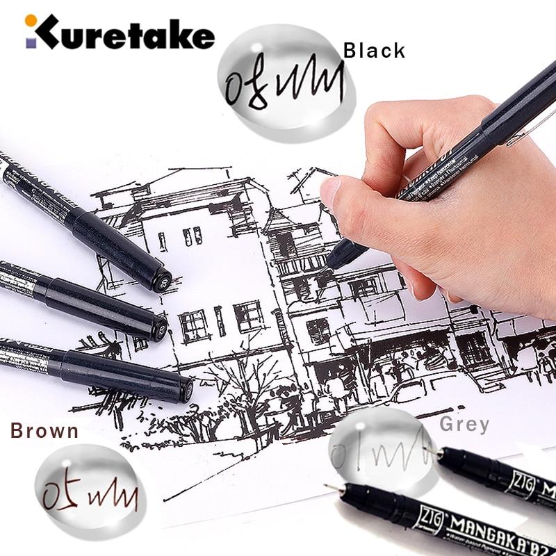 kuretake-penna-ago-della-penna-di-arte-003-005-01-02-03-05-08-f-m-impermeabile-dipinta-a-mano-architettonica-linea-di-progetto-di-corsa-gancio-linea-linea-di-penne