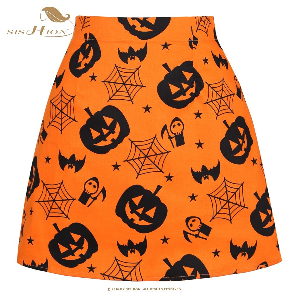SISHION 2020 Mini falda algodón Mujer Faldas SS0008 corto Sexy naranja calabaza impreso Halloween fiesta falda Vintage