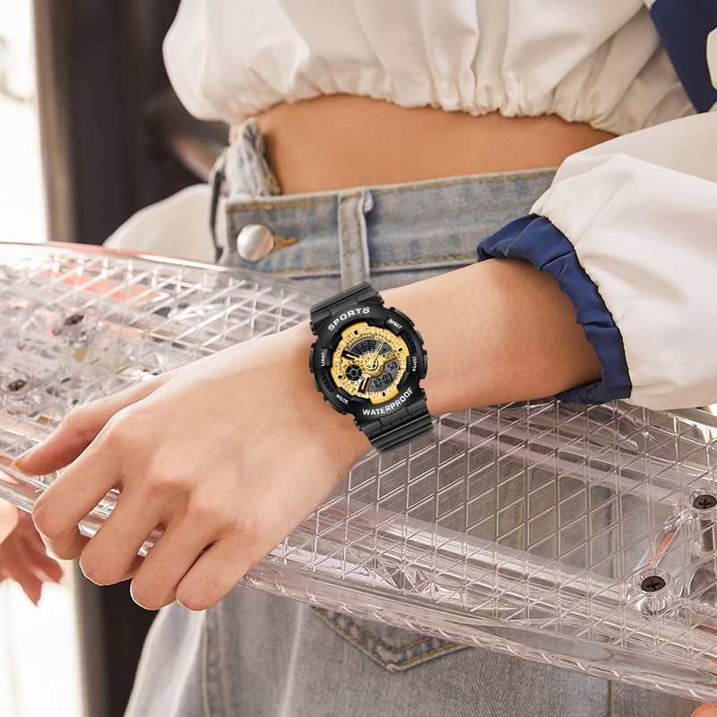 Korean Ins Style Fashion Sports Watch Dual-display Movement Electronic Waterproof Multifunctional Rubber Watches Women  Student enlarge