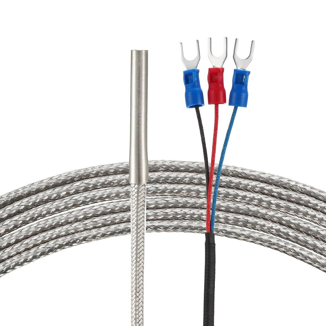 Uxcell Pt100 датчик температуры 3 метра кабель 4 мм x 30 мм термопары-58 ~ 788 °F (-50 ~ 420 °C)